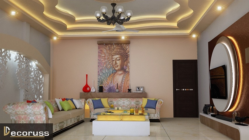 Weetish and brown comination wall paintaing designs and ideas