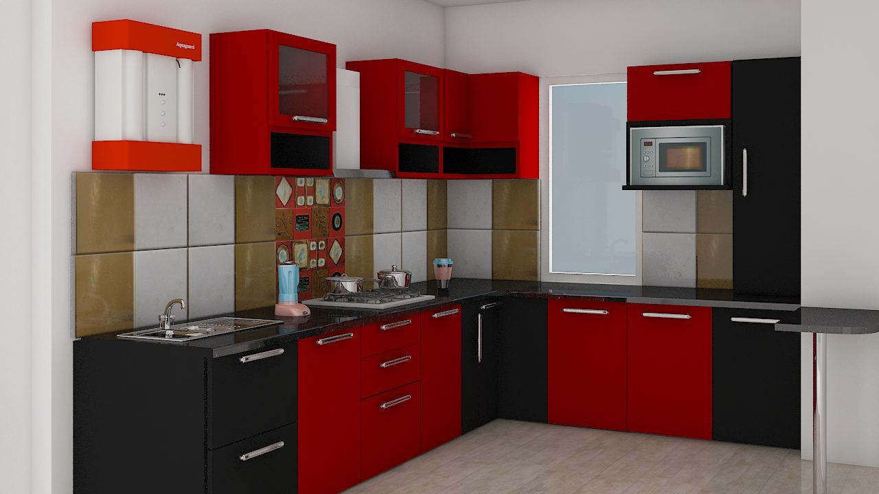 Black and Red Modular kitchen in Lucknow