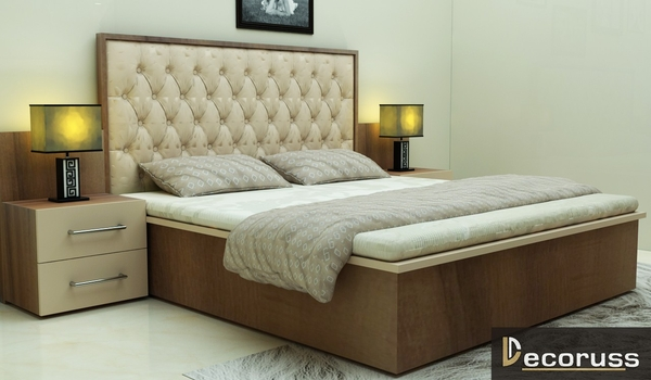 Customized bed with woodern texture