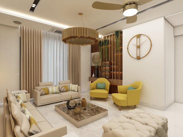 luxury golden colour living room ideas