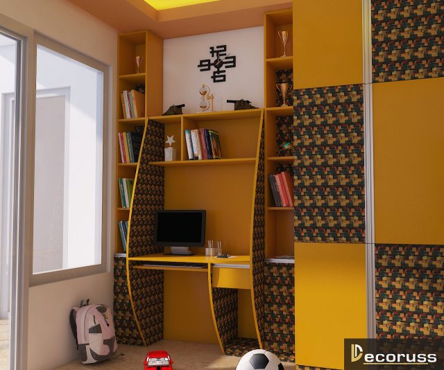 yellow colour study desk interior decorator ideas