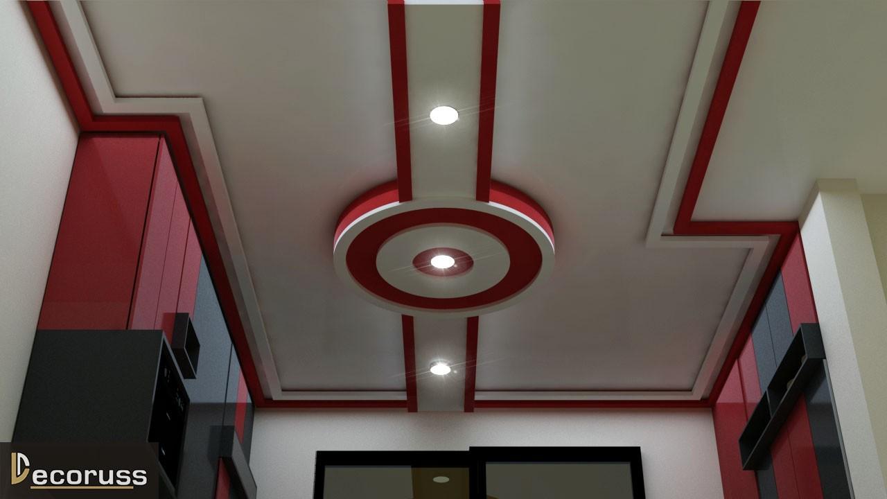 red and white POP False ceiling design faizabad