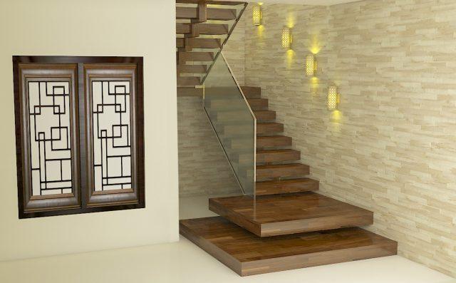 Wooden interior design stairs in Lucknow