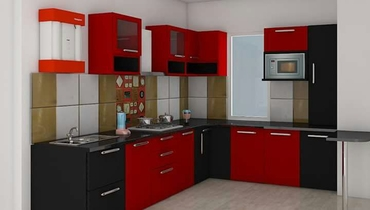 Red modular kitchen design project